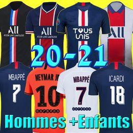 Wholesale Maillots de football kits 19 20 21 PSG soccer jersey 2019 2020 2021 MBAPPE ICARDI 4th shirt men kids set maillot de foot hommes enfants