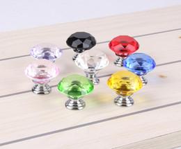 Crystal Pull Cabinet Handles Australia - 30mm Diamond shape Crystal Glass Alloy Door Drawer Cabinet Wardrobe Pull Handle Knobs Drop Worldwide Store SN2790