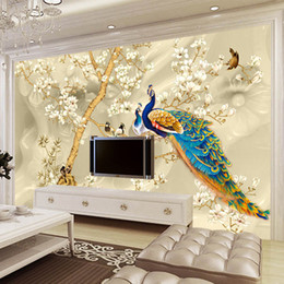 Peacock 3d Painting Australia - Custom Mural Wallpaper 3D Stereo Magnolia Flowers Peacock Wall Painting Living Room TV Sofa Background Wall Papers For Walls 3 D