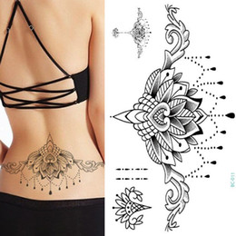 $enCountryForm.capitalKeyWord Australia - 1pc Chest Flash Tattoo 23models Large Black Magical Flower Sternum Tattoos Body Paint Necklace Under Breast 24*13.8cm Cool Girls SH190724