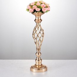 metal centerpiece stands NZ - 10PCS LOT Flowers Vases Candle Holders Road Lead Table Centerpiece Metal Gold Stand Pillar Candlestick for Wedding Home Decor