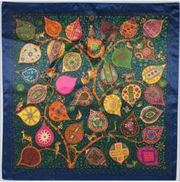 (90cm * 90cm) Le foglie che dipingono la sciarpa quadrata Per la signora Piccole sciarpe Raso di seta fiori / piante / Pittura di colori / Sciarpe di buona qualità
