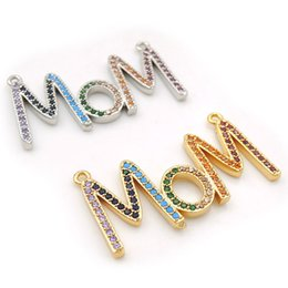 $enCountryForm.capitalKeyWord Australia - 35*16*2mm Micro Pave CZ Of Mixing Colors Mom Charms Of Double Loops Fit For Men And Women Making Necklaces Jewelry