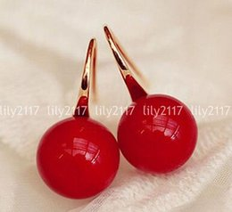 south sea shell pearl beads NZ - 8-12mm South Sea Red Shell Pearl Round beads 14K Gold Plated Dangle Earrings