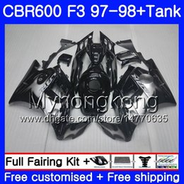 Honda Cbr F3 Fairings Australia - Body +Tank For HONDA CBR 600 FS F3 CBR600RR CBR 600F3 97 98 290HM.15 CBR600 F3 97 98 CBR600FS CBR600F3 1997 1998 new Silvery flames Fairings