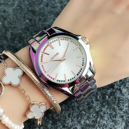 michael glasses UK - Fashion M Colorful crystal design Brand Watches women Girl MICHAEL style Metal steel band Quartz Wrist Watch M100