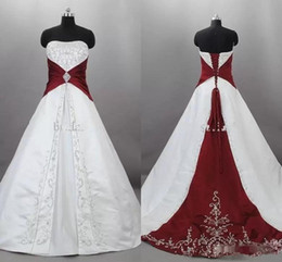 Red White Dresses Australia - Vintage Dark Red And White Wedding Dresses 2019 Strapless Satin Embroidery Lace Up Sweep Train Bridal Gowns Custom Made vestido de novia