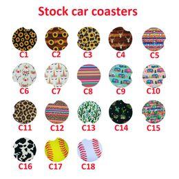 Wholesale Neoprene Car Cup Mat Contrast Mug Coaster Cactus Flower Teacup Rainbow Leopard colors Pad for Home Decor Accessories