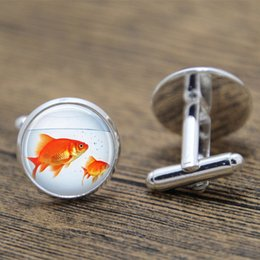 $enCountryForm.capitalKeyWord NZ - 10pair lot Fish cufflink, Goldfish Bowl Fish Bowl Art Nature Art cufflink Aquarium print glass cufflink