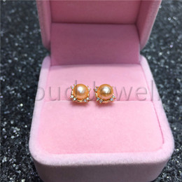 $enCountryForm.capitalKeyWord Australia - 925 Silver Material Freshwater Pearl Earring FreshWater Orange Steamed Bread Pearl Gold Stud Earrings Women Gift Jewelry Free Shipping