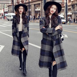 $enCountryForm.capitalKeyWord Australia - Casual Loose Long Coat for Women Open Stitch Plaid Wool Coat and Jacket Turn-down Collar Pockets Women Clothes 2018