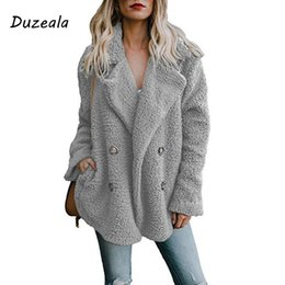 $enCountryForm.capitalKeyWord UK - Plus Size Women Autumn Winter Coat Lapel Pocket Button Long Sleeves Warm Solid Color Woolen Outwear Jacket 2018 Newest Arrival