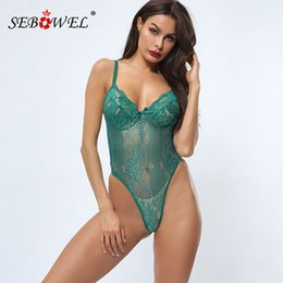 Wholesale clothes for skinny ladies resale online - SEBOWEL New Mesh Lace Skinny Bodysuit for Woman Sleeveless Hollow Out Backless Female Ladies Sexy Bodycon Body Top Clothes XS XL