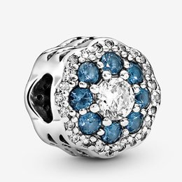 authentic flowers Australia - Fits Pandora Authentic Bracelet Charm Blue Sparkle Flower Sterling Silver 925 Pendant Charms Beads European Charms DIY Style Jewelry