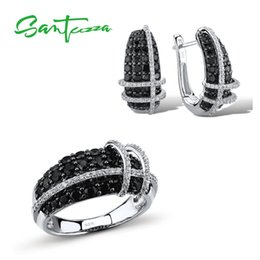 Wholesale SANTUZZA Jewelry Sets For Women Nature Stone Black Spinels White CZ Stones Ring Earrings Set Sterling Silver Fashion Jewelry