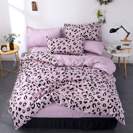 queen size leopard bedding sets Canada - Double Size Bedding Set Queen Size Violet Leopard Print Quilt Cover Bed Sheet Pillowcase Single Bed Covers King Sets