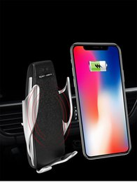 Mount claMp holder online shopping - High quality W Wireless Car Charger S5 Automatic Clamping Fast Charging Phone Holder Mount in Car for iPhone Huawei Samsung Smart Phone