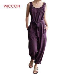 Harem Jumpsuits Women Australia - Women Jumpsuit 2019 Spring Wear Trouser Office Work Harem Pants Sleeveless Rompers Elegant Casual Linen Overalls Plus Size