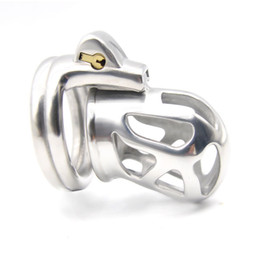 chastity cage cock rings UK - NEW Stainless Steel Male Chastity device Adult Cock Cage With Cock Ring BDSM Sex Toys Bondage Chastity Belt -Q228-SS
