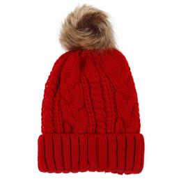 110f3f04 2018 Women's hats Add velvet Fleece Inside Beanies Winter Hats for women  100% Fur Pompom Hat Female Twist pattern caps