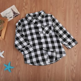 girls winter shirts for kids NZ - Pudcoco Hot Kids baby Boy Girl Long Sleeve Shirt Black Plaid Check Tops Blouse Casual Clothes Christmas clothing for boys girls