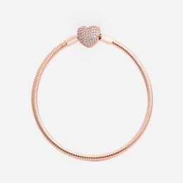 Wholesale Women Luxury Fashion Real Rose Gold plated Love Heart CZ diamond Hand Chain Bracelet Original box for Pandora Snake Chain Bracelet
