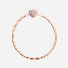 Chinese  Women Luxury Fashion Real Rose Gold plated Love Heart CZ diamond Hand Chain Bracelet Original box for Pandora Snake Chain Bracelet manufacturers