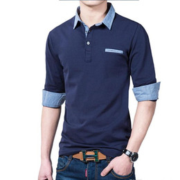 New jeaNs shirt for meN online shopping - Fashion Autumn New Polo Shirt For Men Luxury Casual Slim long sleeve Jean Tees Polos Fit Stylish T shirts