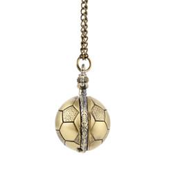 $enCountryForm.capitalKeyWord UK - Retro Soccer Ball Shape Bronze Round Quartz Pocket Watch with Chain Necklace Jewelry Gifts NGD88
