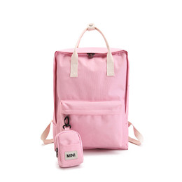 2019 2pcs Canvas Backpack Set With Cute Mini Small Backpack College High  School Bag For Teenager Girls Candy Color Y254 34bbbfaa7c51e