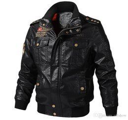 mens bomber winter leather jacket UK - Mens PU Leather Jackets Autumn Winter Army Military Designer Bomber Jacket Coats