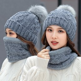 warm scarf set 2019 - Woman Knit Hat Scarf Sets Winter Pom Pom Knitted Beanie Hats Woman Crochet Scarves Outdoor Warm Party Caps TTA1832 disco