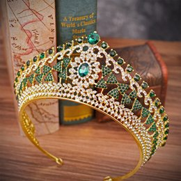 green crown tiara UK - Green Crystal Gold Crowns Bride Tiara Fashion Prom Queen For Wedding Party Crown Headpiece Wedding Hair Jewelry