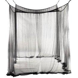Опт Новая 4-угольная сетка для кровати с балдахином Москитная сетка для королевы / королевского размера Кровать 190 * 210 * 240 см (черная) Кровать противомоскитная сетка