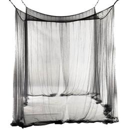 Nuovo zanzariera a baldacchino a 4 angoli letto per letto queen / king size 190 * 210 * 240cm (nero) zanzariera a letto in Offerta