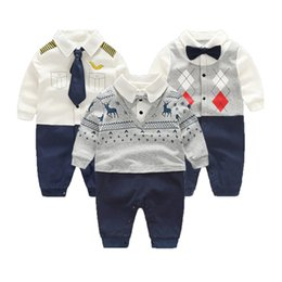 Infant Jumpsuits Rompers Australia - 100% Cotton Rompers Gentleman Roupas Bebe Infant Jumpsuits Spring Newborn Clothes Baby Boy Set J190524