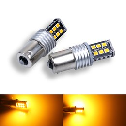 s25 led bulb NZ - 2PCS BAU15S PY21W BA15S 1156 S25 LED 2835 15SMD Bulbs For Car Turn Signal DRL Lights Brake Lamp Yellow canbus DC 12V