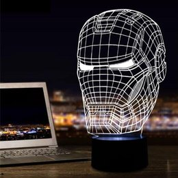 $enCountryForm.capitalKeyWord NZ - New Marvel Avengers Lamp 3D Art Iron Man Mask Night Light Superhero illusion Mood Lampe for Kids Friends Dad Creative Baby Child Toy Gifts