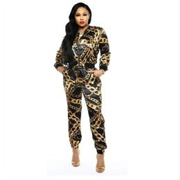 $enCountryForm.capitalKeyWord UK - new women two piece set chain printed zip up turn down neck jackets pencil long pants suits tracksuit outfit