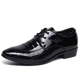 $enCountryForm.capitalKeyWord Australia - 2019 Cheapest male dress shoes low heels mens patent leather Oxfords wedding black shoes lace up Pointed toe leather flats G7-83