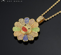 $enCountryForm.capitalKeyWord Australia - Sell best gold hot sale Murakami Sun Flower Sunflower Pendant Micro Zircon Hiphop Colorful Flower Rotating Pendant Necklace 2019