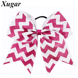"cheerleader accessories Australia - 7"" Chevron Cheerleaders Bows Large Cheer Bow With Elastic Band Glitter Printed Hair Accessories For"