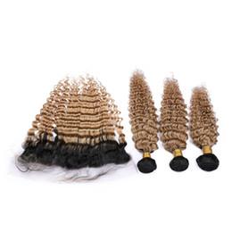 $enCountryForm.capitalKeyWord Australia - Dark Roots Honey Blonde Brazilian Hair Bundles with Frontal Closure Deep Wave Human Hair Two Tone 1B 27 Light Brown Ombre Virgin Hair
