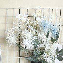 Wholesale Wedding Home Artificial Decorative Flowers Simulation sea urchin flower flocking crab claw chrysanthemum Ice Cream Colors Table Hotel Dec
