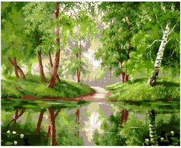 "hand painted painting oil green NZ - Adult Hand Painted DIY Painting By Numbers Oil Paint Kits Paint-Green riverside woods 16""x20"""