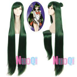 Chinese  Sailor Moon Pluto Meiou Setsuna Dark Green Hair Long Straight Cosplay Full Wig manufacturers