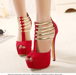 $enCountryForm.capitalKeyWord Australia - Gold Strap Ballroom Dance Shoes High Heels 2015 New Sandals For Women Red Heels Elegant Wedding Bridal Shoes size 35 - 40