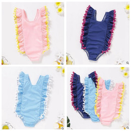 Wholesale solid colour bikinis online – Kids Swimsuit Girls One Piece Swimwear Baby Bulb Edge Ruffle Bathing Suits Child Solid Color Bikini Summer Water Sports Swimwear ZYQ196