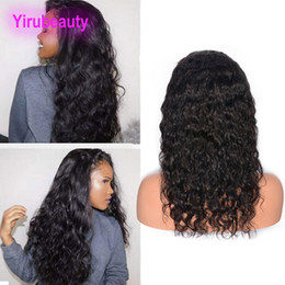 Wet broWn online shopping - Indian Unprocesseed Human Hair Lace Front Wigs Natural Color Water Wave Lace Front Wig With Baby Hair Custom made Wet And Wavy