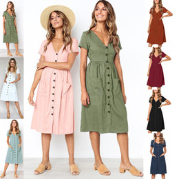 Ladies Summer Europe Dress Australia - Fashion-2019 Summer Europe American Dress Fall Women Skirt Casual Dresses Ladies Button Pocket V Neck Ties Short Sleeve One-piece Dress